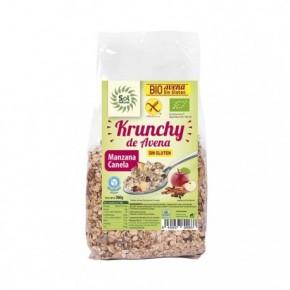 KRUNCHY AVENA SIN GLUTEN MANZANA-CANELA 350 G, SOL NATURAL